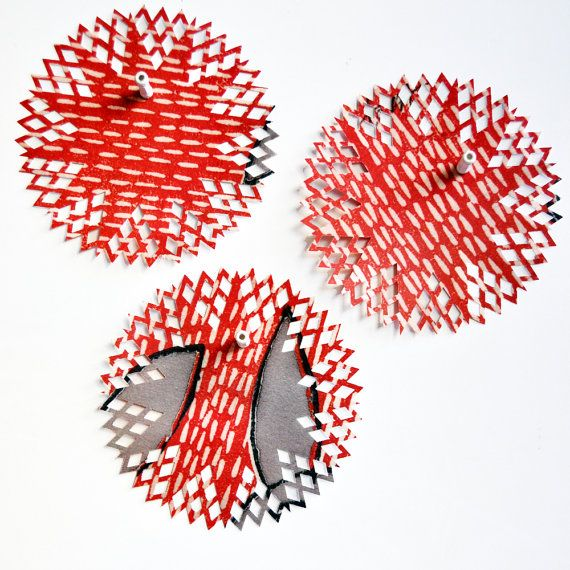 OOAK Fun {6} Handcut Doilies {6.0in/ 150mm dia} Red Rescued Magazines DIY Supplies Gift Wrap DIY Supplies Scrapbooking Embellishments