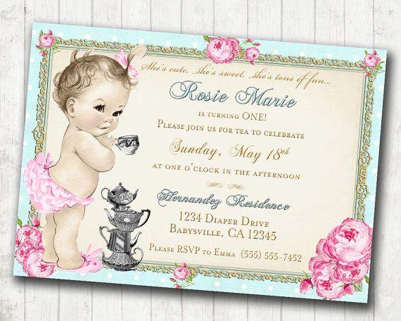 Tea Party 1st Birthday Invitation For Girl Shabby Chic Birthday