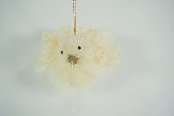 Artificial Bird Off White Bird w/ Feathers Wreath Supplies
