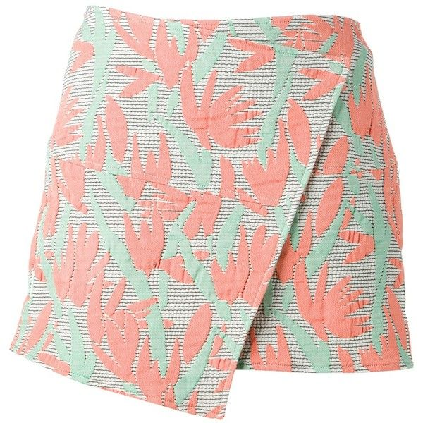 KENZO embroidered wrap skirt (16.120 RUB) ❤ liked on Polyvore featuring skirts, bottoms, faldas, kenzo, pink wrap skirt, pink floral skirt, flower print skirt and floral skirt