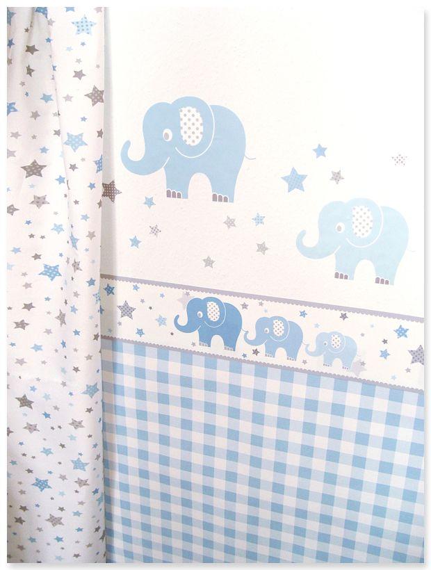 Elefanten Boys blau/grau: Selbstklebende Bordüre, Wandsticker, Sternenstoff und passende Vichykaro Tapete in hellblau/weiß