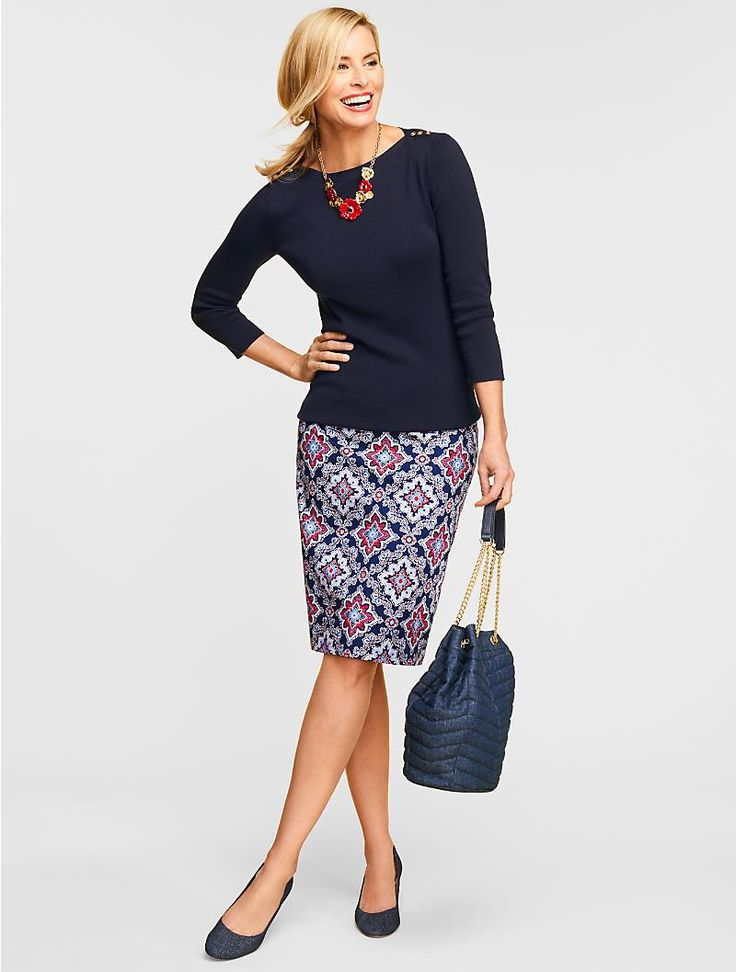 Sophisticated and fun, a colorful tile print makes a pencil skirt pop. Tailored from a crisp cotton blend, the streamlined silhouette complements the stretchy fabric to create the most feminine and flattering fit.