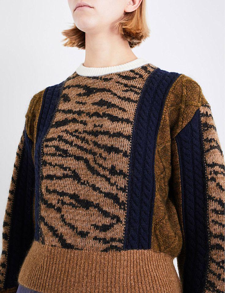 TOGA Tiger-embroidered wool-blend jumper
