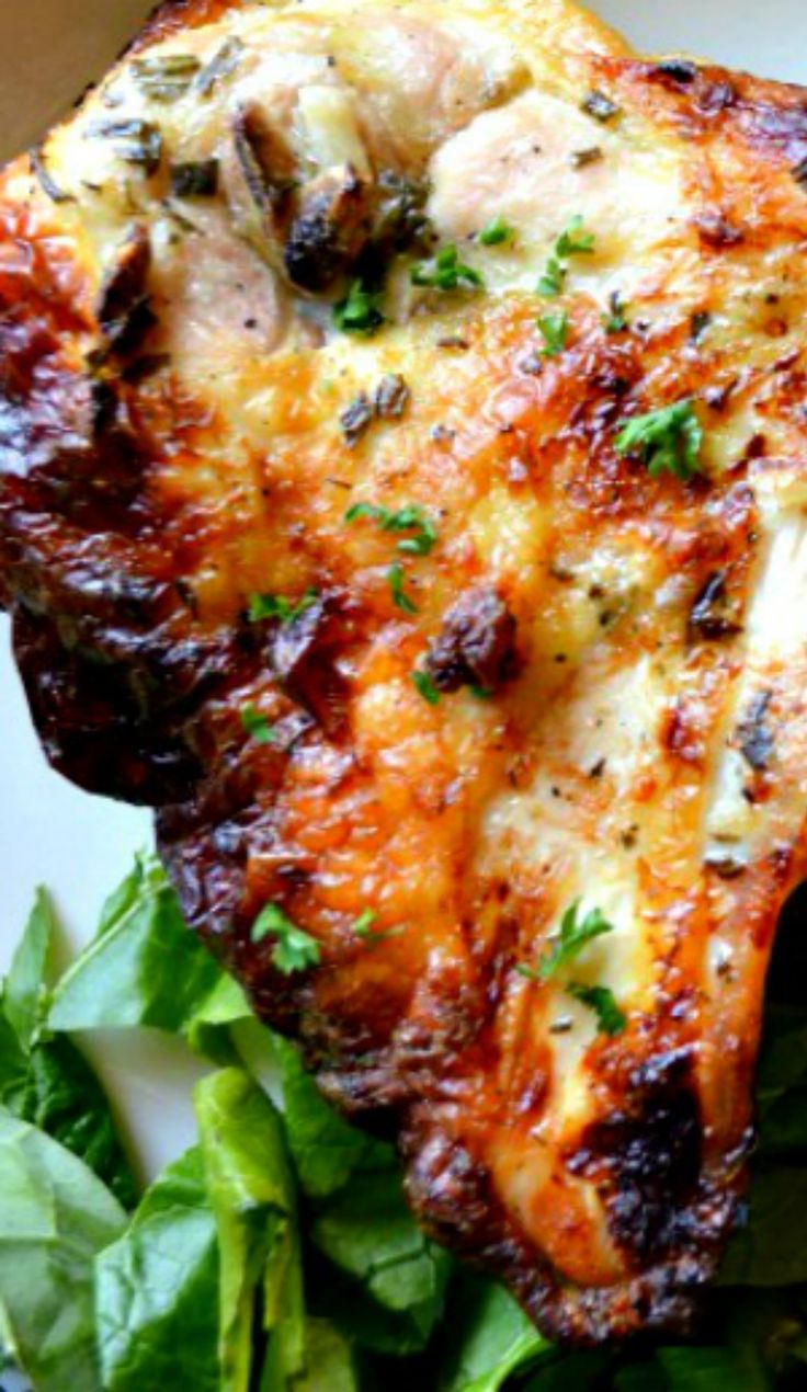 """Buttermilk Roasted Chicken: described as """"easy oven- roasted chicken that's crispy on the outside and moist, tender and super flavorful throughout the meat."""""""