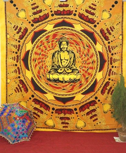 Wall Hanging Lotus on Buddha Hippie Indian Tapestry Throw, Wall Hanging Bedspread .