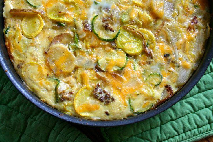 squash potato and sausage frittata | Squashes | Pinterest