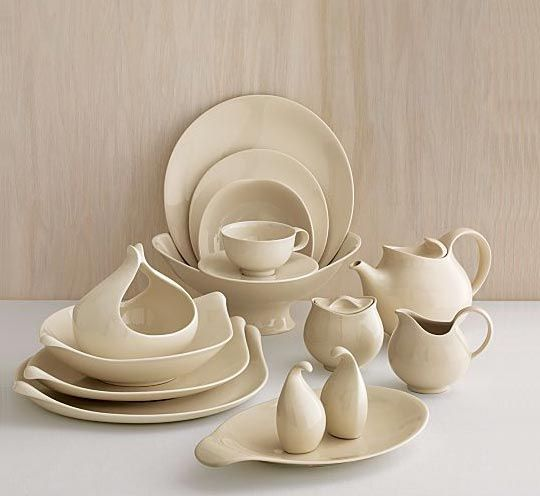 """Originally designed in 1952 by world-renowned designer Eva Zeisel, this timeless tabletop art makes a comeback in a creamy neutral, """"Classic Century Dinnerware"""". (Found at http://www.crateandbarrel.com/dining-and-entertaining/dinnerware-sets/classic-century-dinnerware/f7859)"""