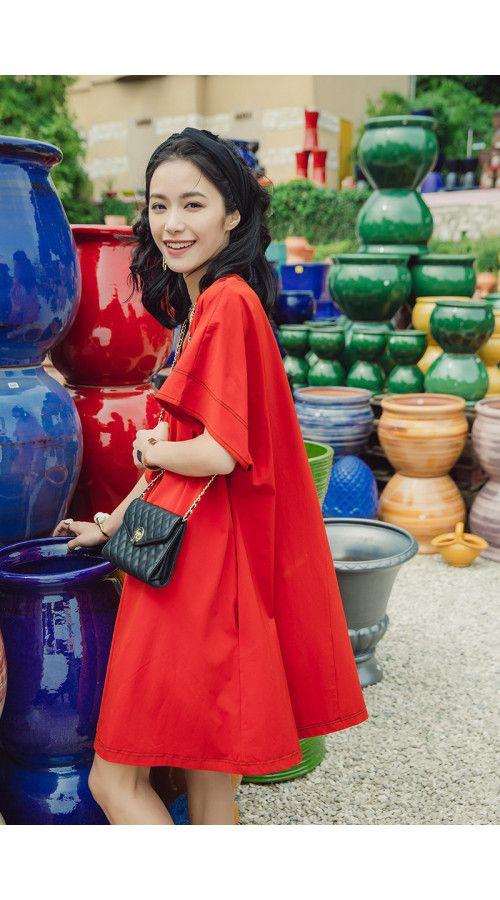 635911048f0 Red Dress Skirt Loose Long V-neck A-Line Shirt Dress in 2019 ...