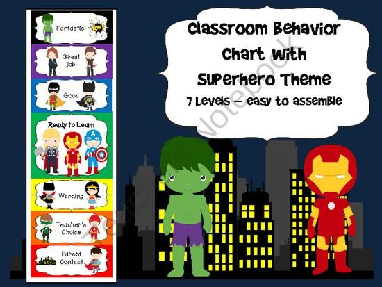 Superhero Behavior Chart from Book Fairies and Garden Gnomes on TeachersNotebook.com (13 pages) - A great Superhero themed Behavior Chart, perfect for any classroom!