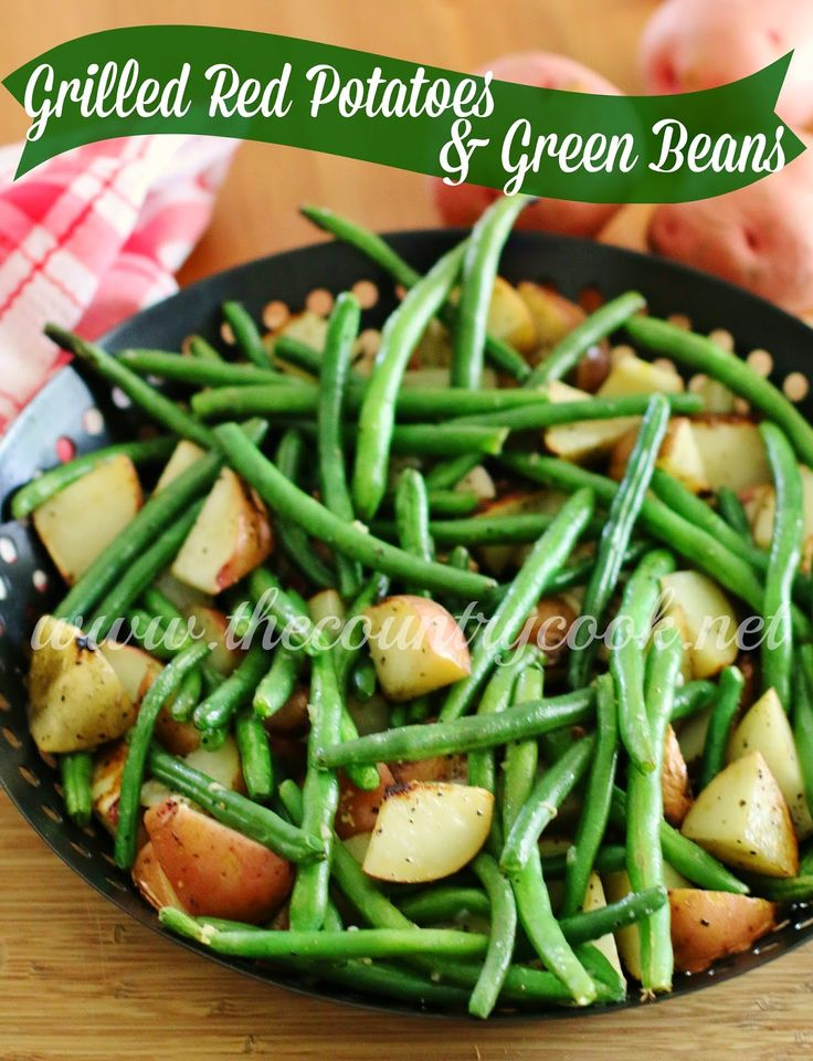 Grilled Red Potatoes & Green Beans {with butter, shallots, garlic and seasoning - SO good!} #BetterWithReds #SummerFood