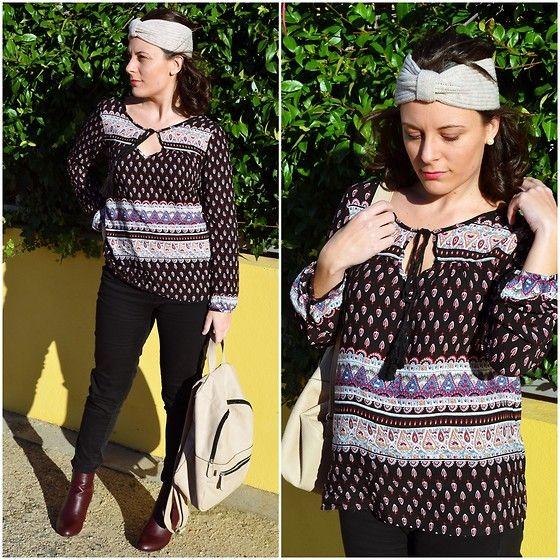 Get this look: http://lb.nu/look/7878204  More looks by Lourdes Bueso: http://lb.nu/mivestidoazul  Items in this look:  10 Pecados Folk Shirt, Carrefour Burgundy Boots, Stradivarius Black Pants, Primark Beige Backpack, Primark Hair Accessorie   #shades #folk #outfit #black #beige #burgundy #spain