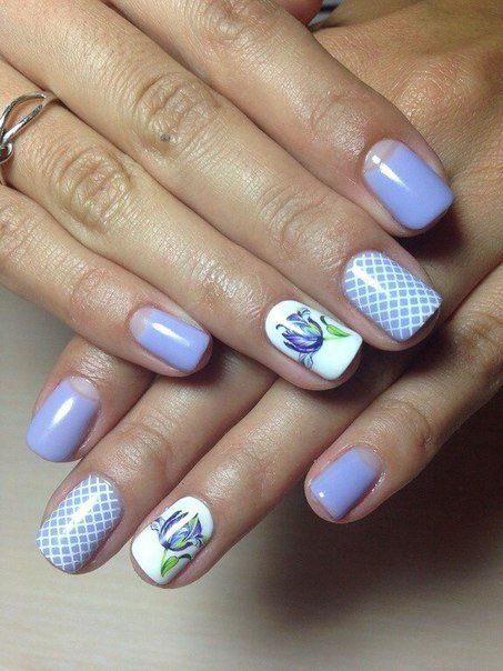 A soft and gentle alternative design of nails. The snow-white lacquer is perfectly with pale cornflower shade adorning the fingers. Fine lines, creating an