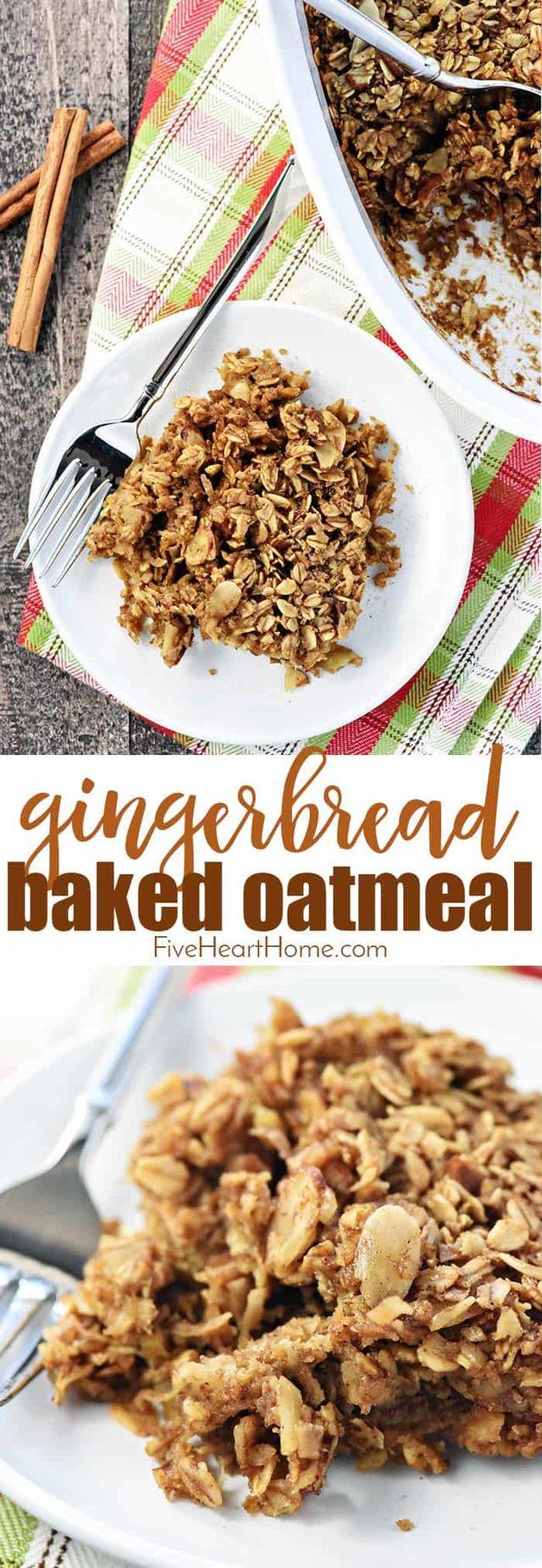 Gingerbread Baked Oatmeal Fivehearthome Winter Breakfast Quaker Oats Recipes Baked Oatmeal