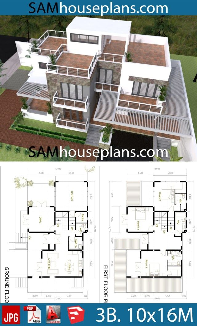 House Plans 10x16 With 3 Bedrooms Sam House Plans House Plans Simple House Plans Narrow House Plans