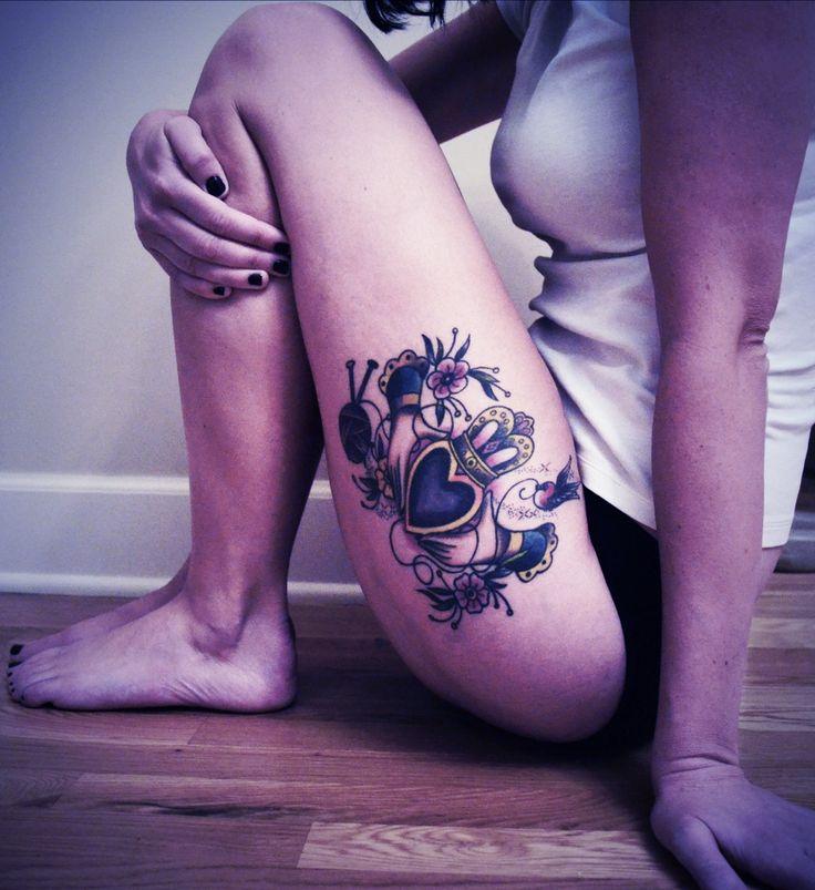 My: knitting tattoo. yarn tattoo. claddagh tattoo.