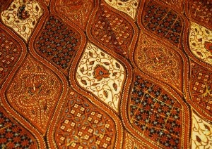 A more complex Yogya style batik, with lots of different browns, and different patterns. This might be the 'patchwork' style of batik design.