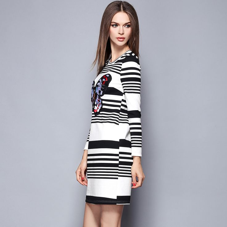 autumn women's casual dress Butterfly Embroidery stripe dresses student leisure O-neck long sleeve lady's clothing 1475