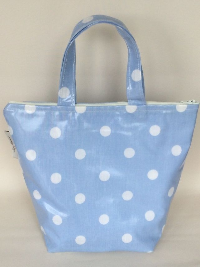 Pale Blue Spotty oilcloth insulated lunch bag £11.99