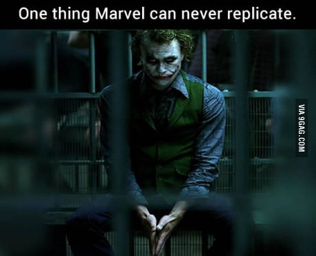 I may be a hardcore Marvel fan but only a idiot would say this is not true because this Joker can never be replicated