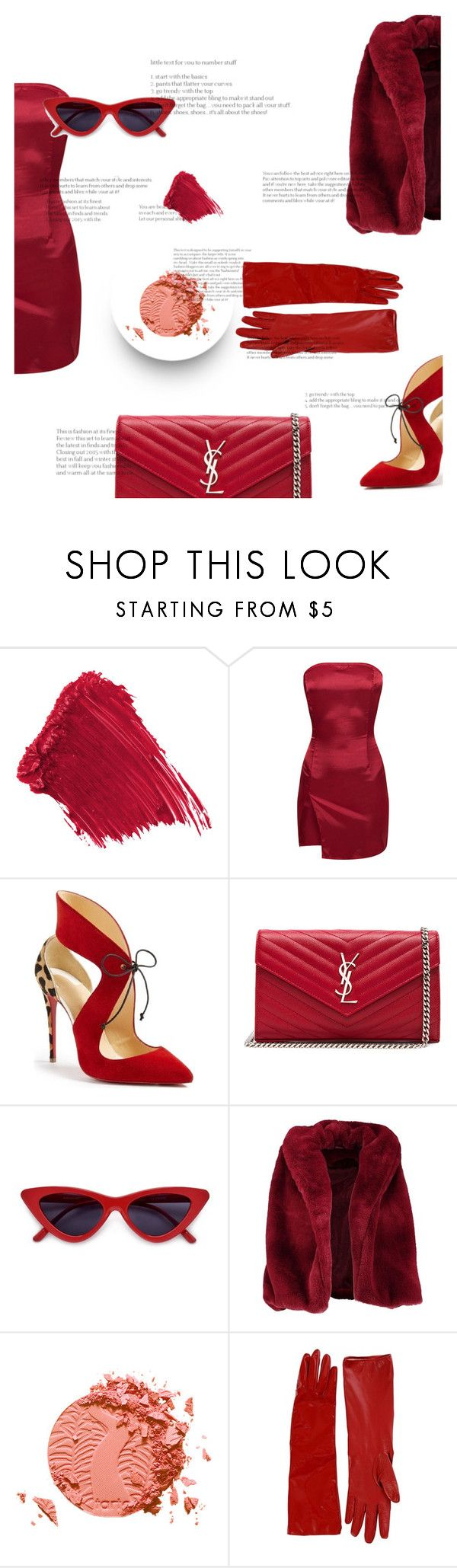 """""""Untitled #223"""" by robyscognamiglio ❤ liked on Polyvore featuring Christian Louboutin, Yves Saint Laurent, Boohoo, tarte and Alessandra Rich"""