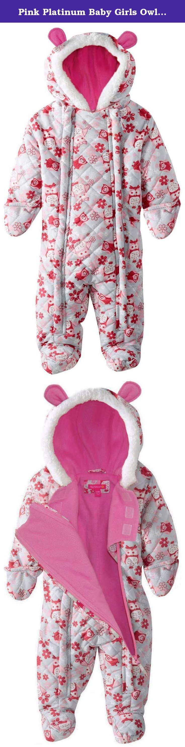 Pink Platinum Baby Girls Owl Microfleece Quilted Puffer Snow Pram Suit Bunting, Pink, 0-3 Months. Microfiber quilted all over owl print ear snow pram. Sherpa trim around the hood. Polar fleece lined. Full double side zip opening for easy on and off. Attached mittens. Water and wind resistant. Perfect accessory for cold days. SKU: 17-cze-16-1-Silver-0/3M.