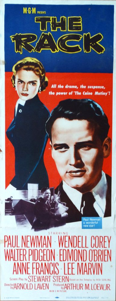 "Rack,The. 1956 Original 14""x36"" US Theater Movie Poster. FREE SHIPPING. Paul Newman,Wendell Corey, Walter Pidgeon, Anne Francis, Lee Marvin. by ArtisticSoulStudio on Etsy"