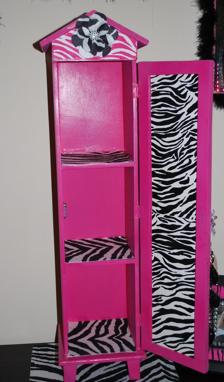 We can do this....already have the shelves!  Just need to cover with the zebra and the pink duct tape!