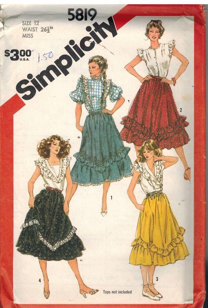 5819 UNCUT Vintage Simplicity Sewing Pattern Misses Flounced Skirts Western OOP