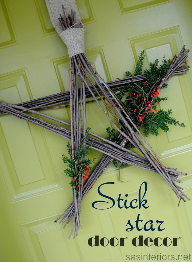 Stick Star Door Decor - simple to create and cost nothing via sasinteriors.net