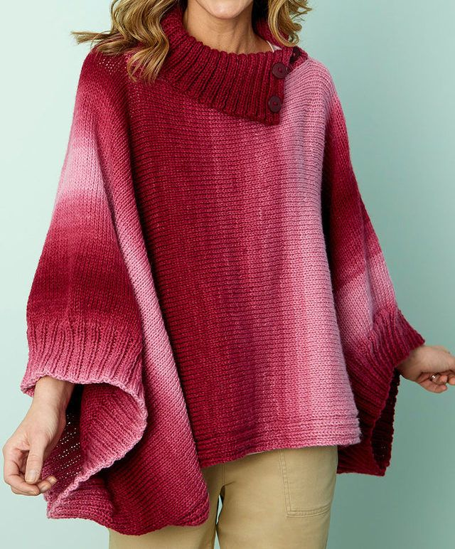 Free Knitting Pattern for Easy Napa Rib Collar Poncho - Easy pullover poncho pattern features a split cowl collar and wide ribbed armholes for sleeves. 3 sizes. Works great with multi-colored yarn. Designed byHeather Lodinksy for Red Heart.