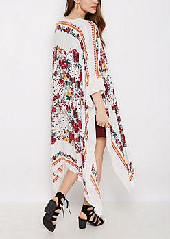 White Wildflower Split Seam Kimono