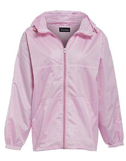 Womens Ladies mesh Lined Hooded Rain Jacket Coat Raincoat Festival Mac Rose Pink Size 12 14 (S, Rose)
