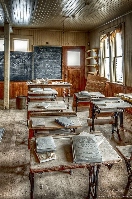 The interior of the school house in the Ghostown of Bodie, California. Bodie State Historic Park is a genuine California gold-mining ghost town. Visitors can walk down the deserted streets of a town that once had a population of nearly 10,000 people. The town is named for Waterman S. Body (William Bodey), who had discovered small amounts of gold in hills north of Mono Lake.