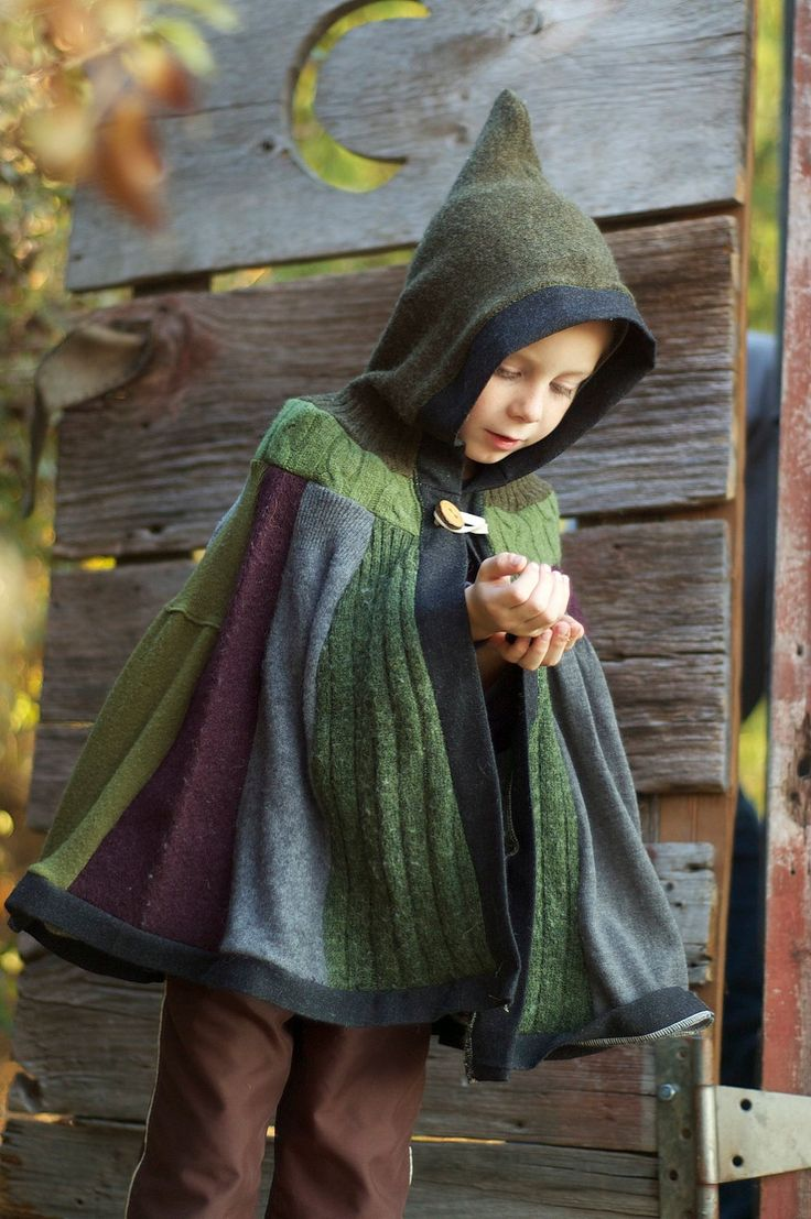 Woodland Cape - Upcycled Sweaters - Tree Branch Button Closure