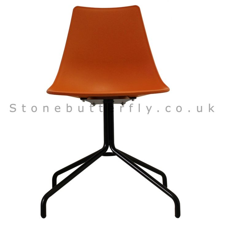 Charles Ray Eames Inspired N-DSP Side Chair Black Legs - Orange
