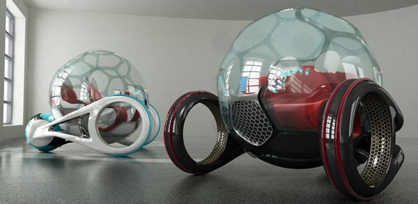 Bemoove is a futuristic urban vehicle with a wild aesthetic that was dictated not by a desire for attention, but by experimenting with material & powertrain options ideal for the city. The ultra-lightweight frame of the trike's base is carbon fiber, but the real innovation is the inflatable cab that offers safety, shock absorption,= & total panoramic views.  Designer: Andrea Filogonio