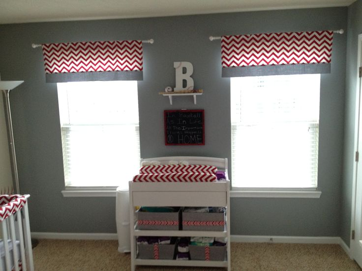 Baseball Nursery Red Chevron And Gray