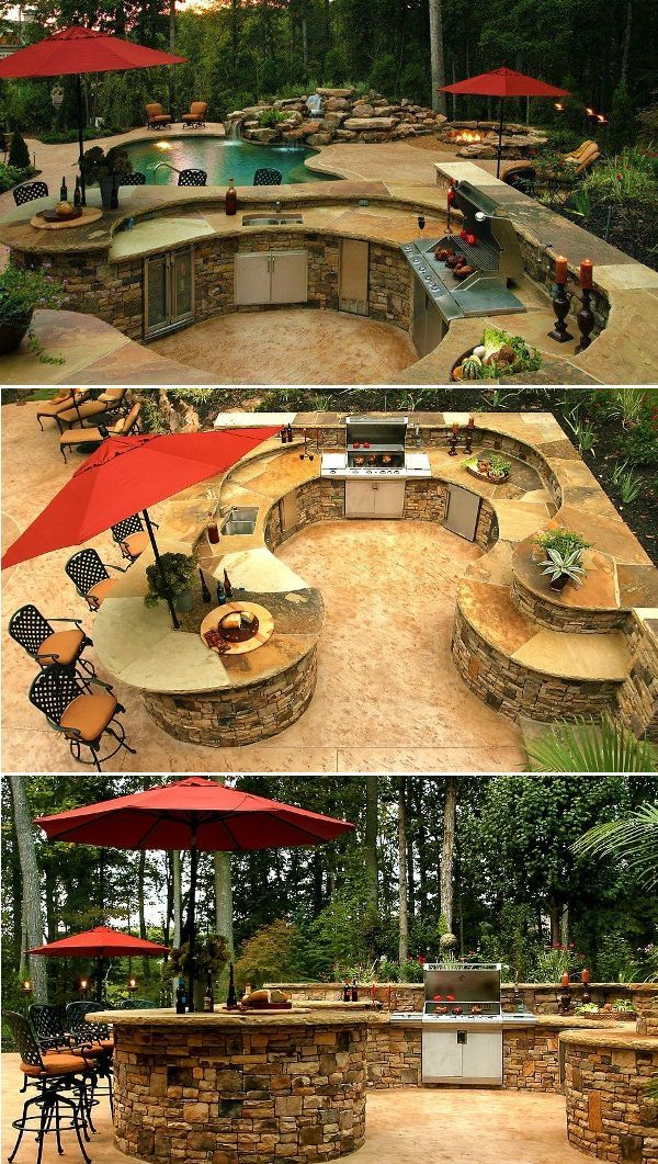 Elegant and Traditional Outdoor Kitchen Outdoor Kitchen Design Idea #outdoorkitchen: