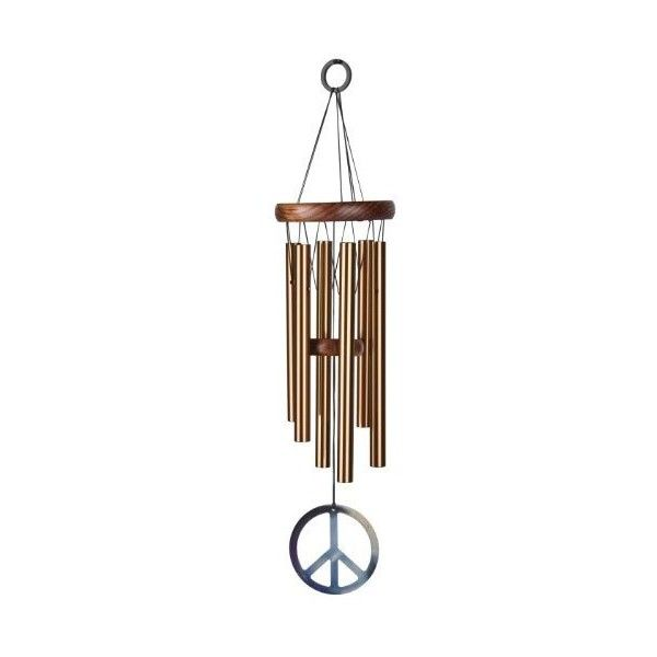 """Woodstock Chimes Woodstock Peace Chime Windchime, Bronze, 16"""" Long ($22) ❤ liked on Polyvore featuring home, outdoors, outdoor decor, outdoor, outdoor patio decor, peace sign, woodstock wind chimes and outdoor wind chimes"""