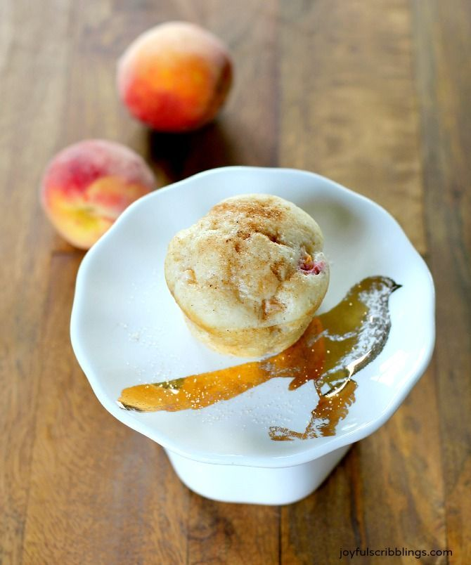 Morningside Peach Muffins- an easy recipe that doesn't require peeling the peaches - joyfulscribblings.com