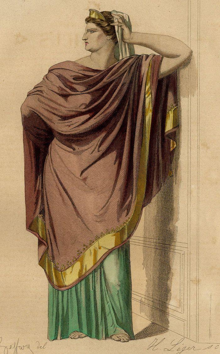 Costume Agrippine Britannicus Théâtre Racine Gravure originale 19e