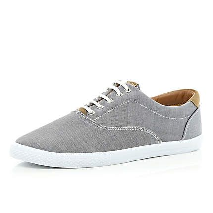 Grey canvas lace up trainers £20.00
