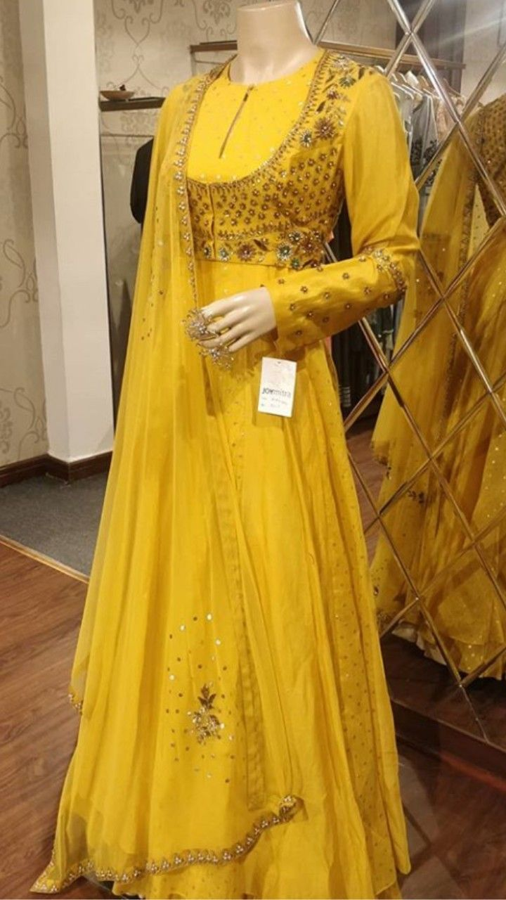 8f343309f8 Beautiful Silk Long Anarkali Gown. Embellished with jacket and hand  embroidery work. Set with net dupatta. Yellow color one of the finest color  for wedding ...