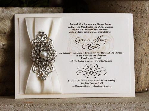 Sale - Beautiful wedding Invitation with Ivory metallic paper, pearl and  rhinestone brooch and satin ribbon for a bride's wedding