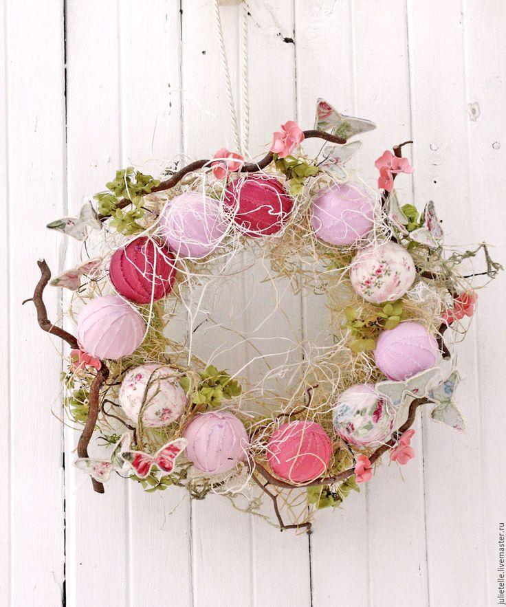 Купить Весенний венок - розовый, весенний венок, весенний декор, венок на дверь, украшение веранды