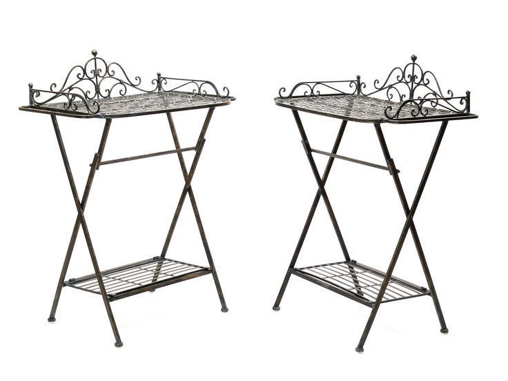 2x Butlers Tablett Serviertisch Gartentisch Eisentisch Klapptisch Tisch Garten Esszimmer Butlers Eisentisch Esszimmer Ga Side Table Decor Table