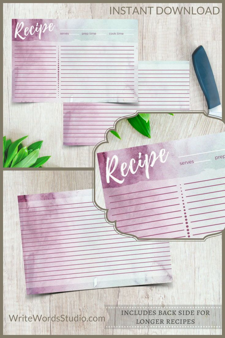 Double Sided Recipe Card 4x6 Printable Purple And Blue Etsy Recipe Cards Perfect Bridal Shower Gift Printable Recipe Cards