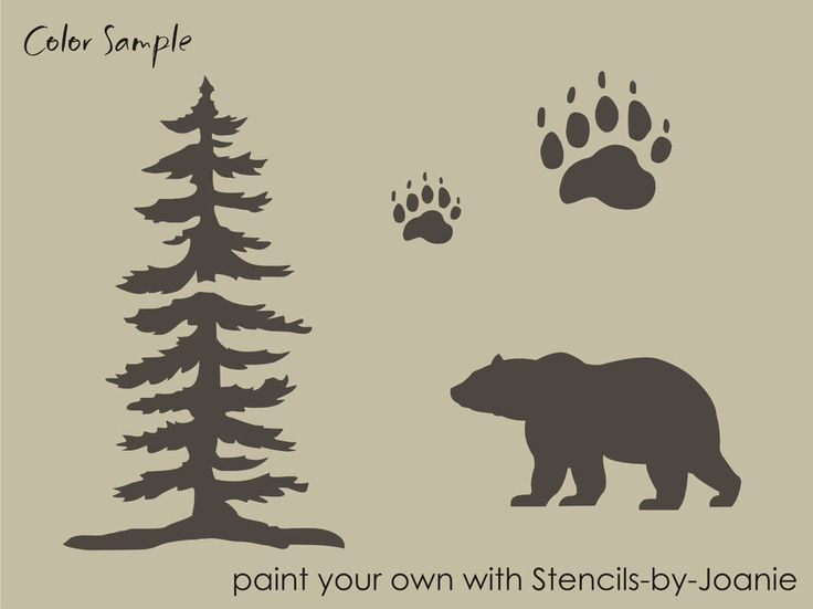 STENCIL Bear Tree Paw Tracks Rustic Mountain Outdoor Cabin Lodge Signs U Paint #DesignsbyJoanie
