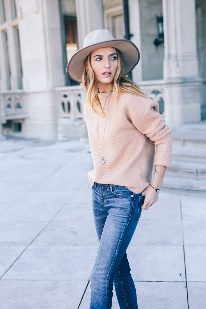 Blush Sweater Madewell Skinny Jeans Wide Brim Fedora Prosecco and Plaid-3
