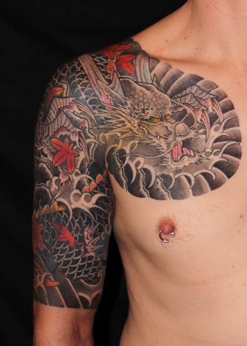 dragon tattoo sleeve with maple leaves cover up freehand. Black Bedroom Furniture Sets. Home Design Ideas